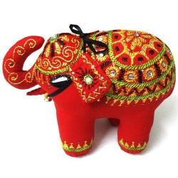 Exclusive Decorative Handmade Red Cotton Elephant Home Decor