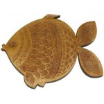 Wooden Engraved Fish Coasters 4 pcs