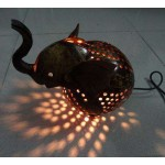 Coconut Shell Elephant Handmade Decorative Lamp