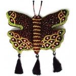 Decorative Wall Hanging Handmade Cotton Black Butterfly