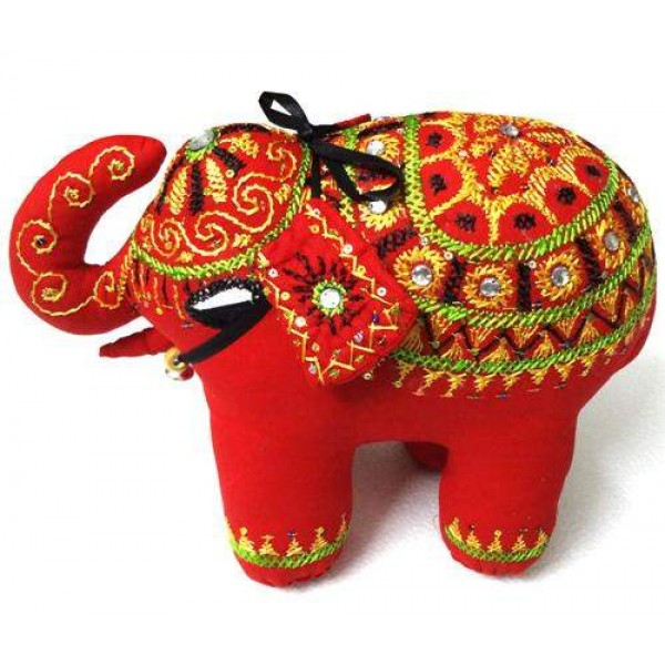 Decorative Handmade Red Cotton Elephant Home Decor