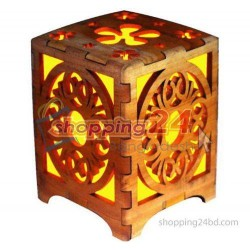 Wooden Laser Engraved Night Lamp Cube