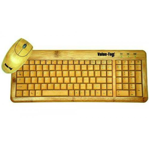 VALUE-TOP Real Bamboo USB Keyboard Mouse