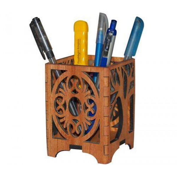 Wooden Laser cut Pen Holder 0650